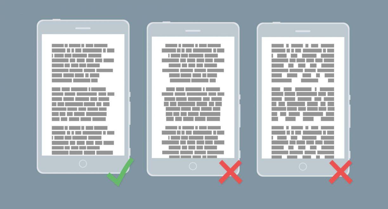 Allineamento a sinistra dei testi web