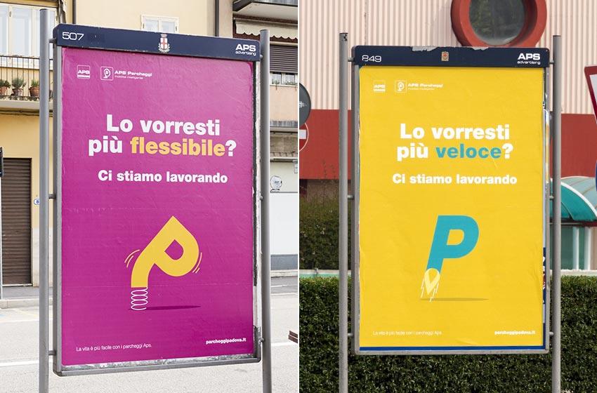 Manifesti stendardi parcheggi