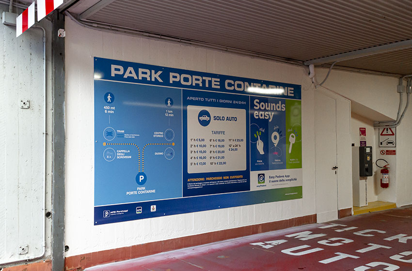 EasyPadova app affissioni parcheggi in struttura